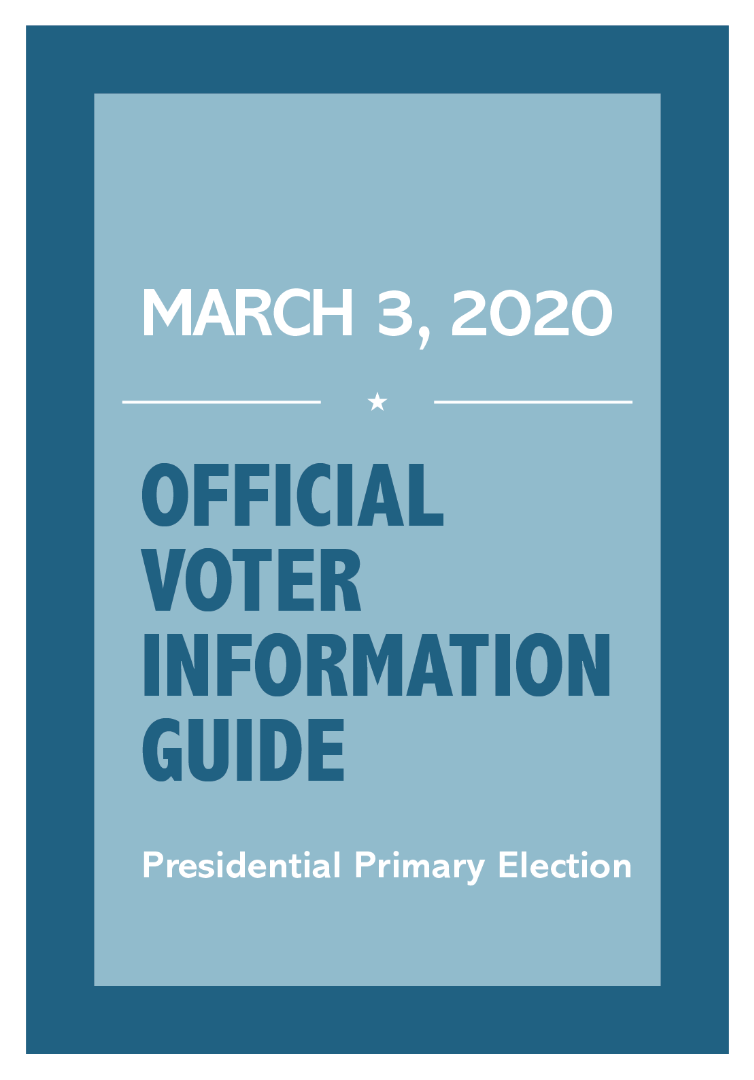 Official Voter Information Guide 3/3/20 Presidential Primary
