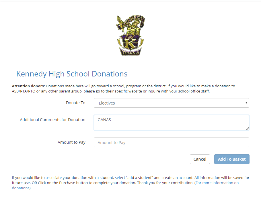 kennedy high school donations