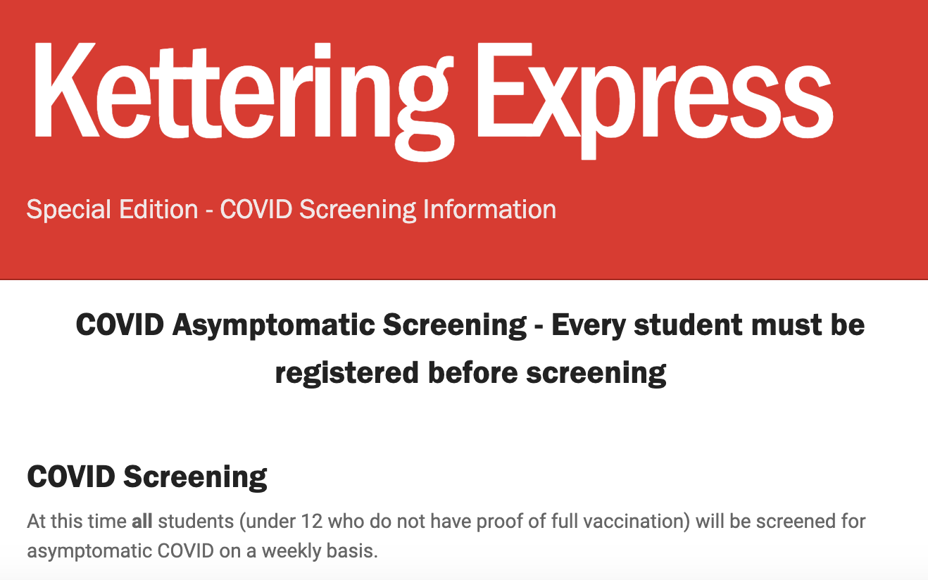 COVID Screening for students
