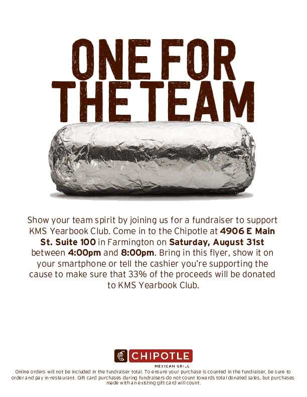 KMS Yearbook Chipotle Fundraiser - 8-31-19
