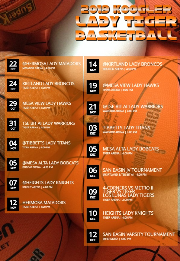 2019 LADY TIGER BASKETBALL SCHEDULE