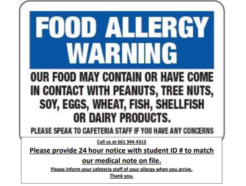 Food Allergy Warning