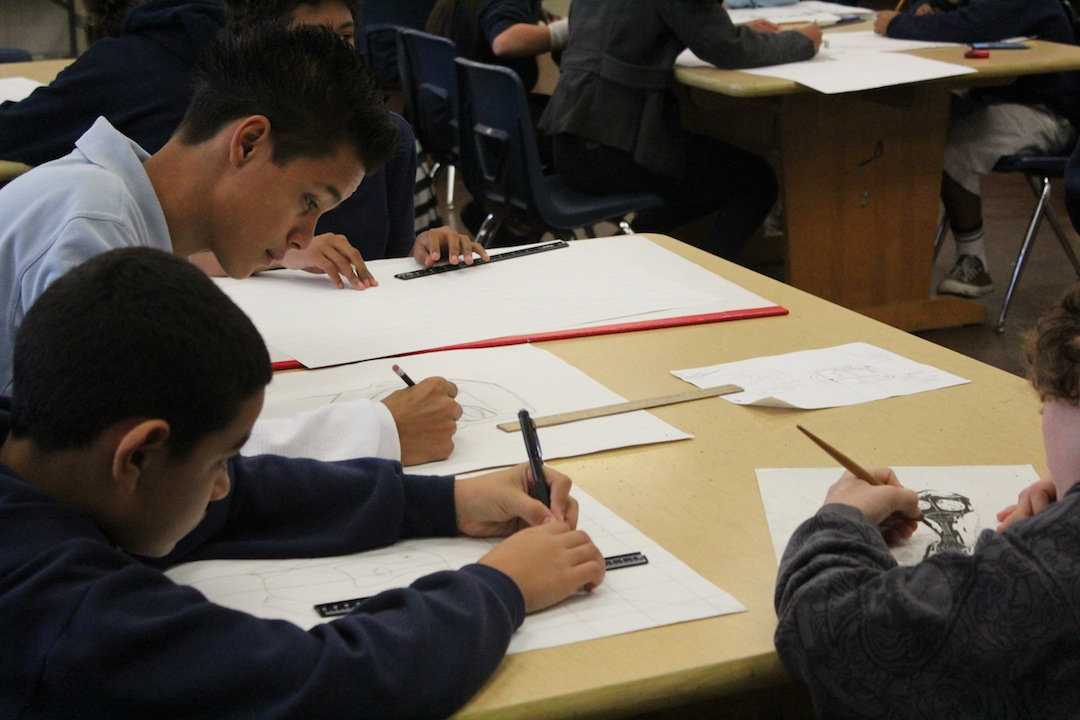 Classroom students doing