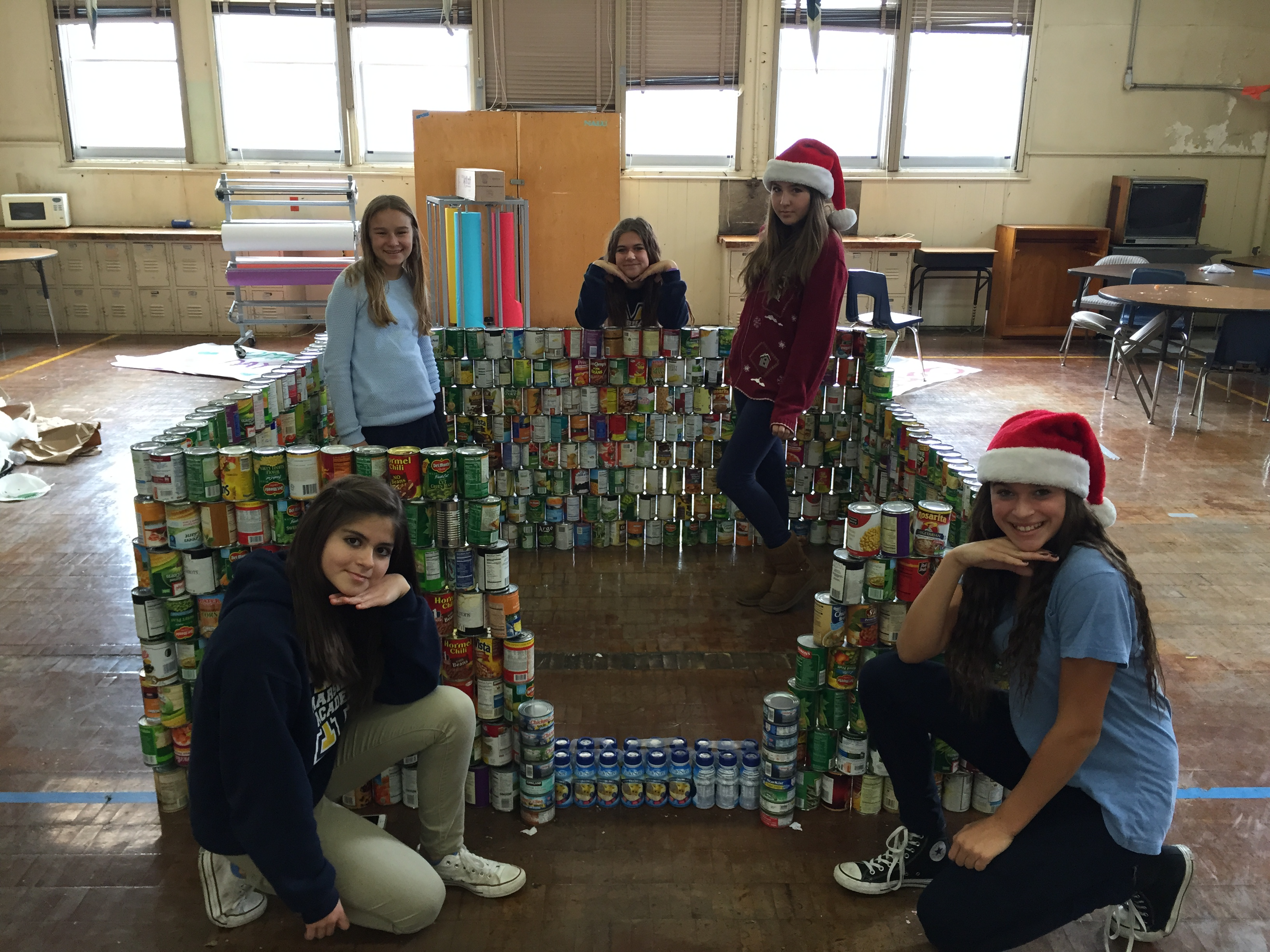 Students with canned food