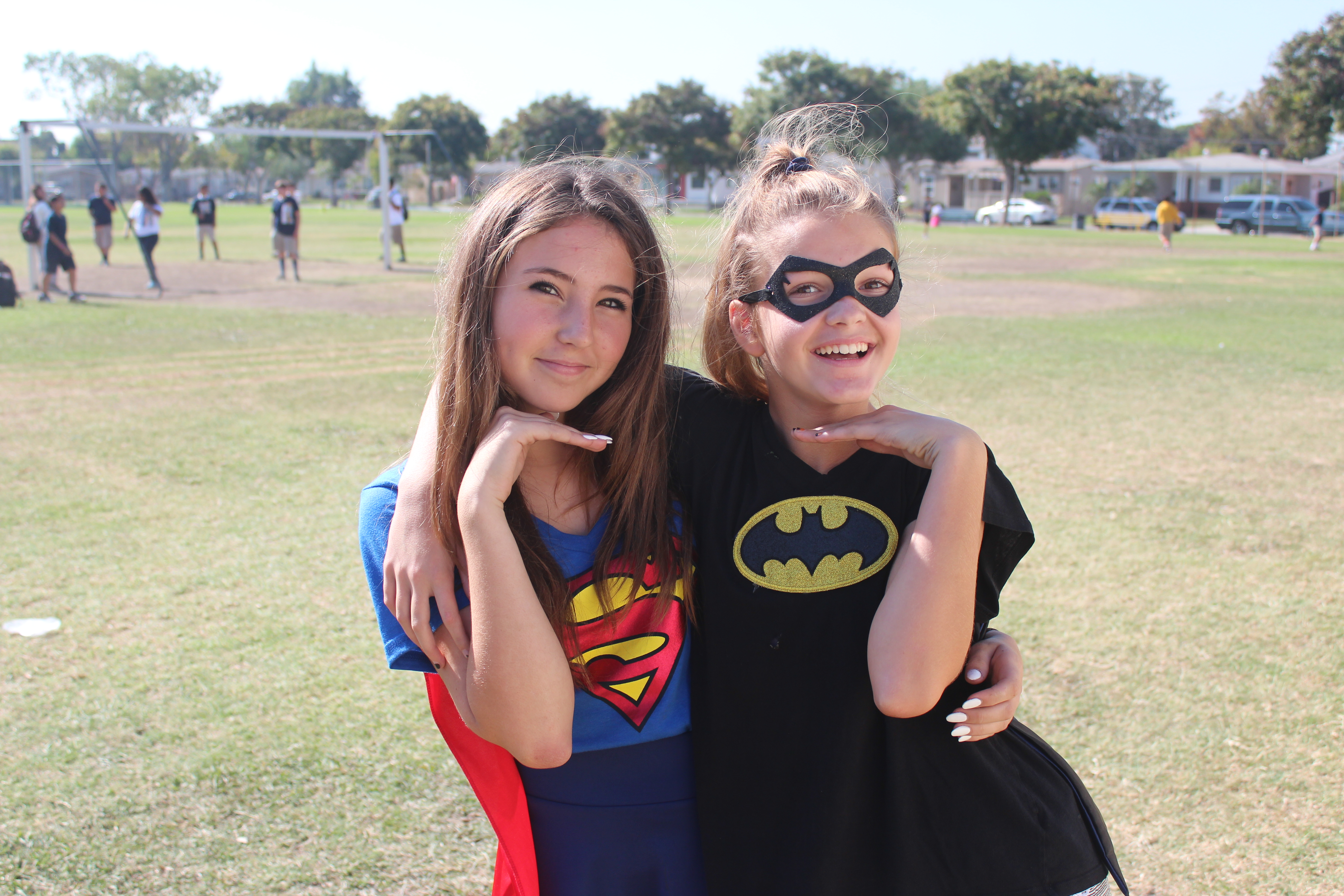 Students in superhero costumes