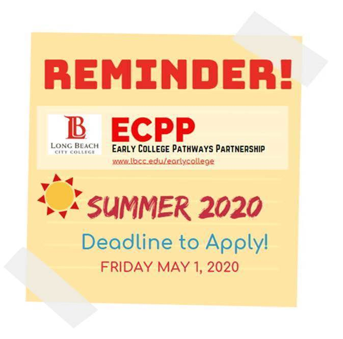 Reminder! Early College Pathways Program Summer 2020 deadline to apply May 1st