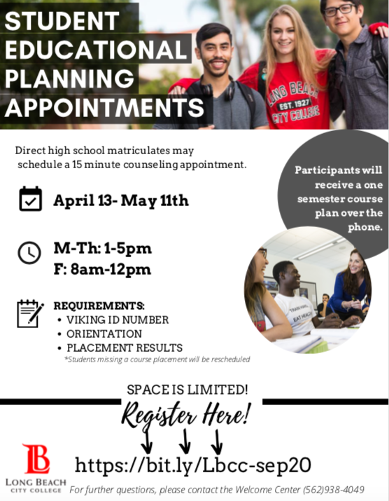 LBCC Student Educational Planning Appointments Seniors sign up here