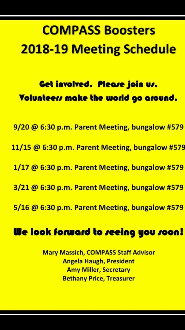 COMPAS BOOSTERS MEETING SCHEDULE