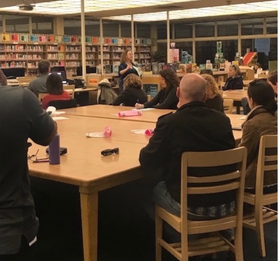 Quest Counselor Presenting to Parents about College Application Process