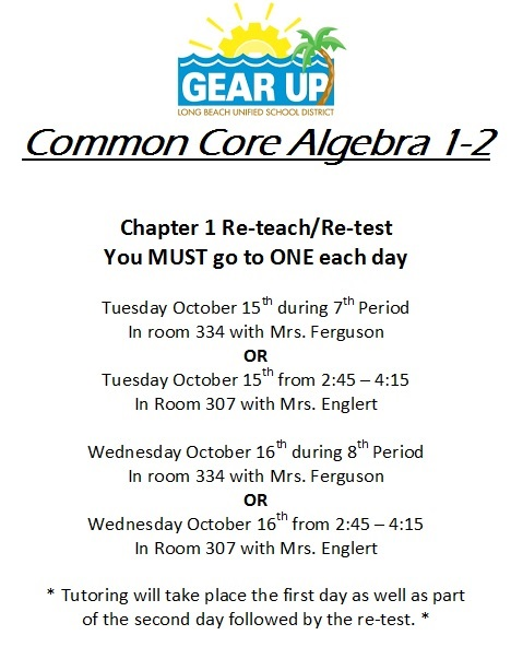 Alg 1 Chapter 1 Retest