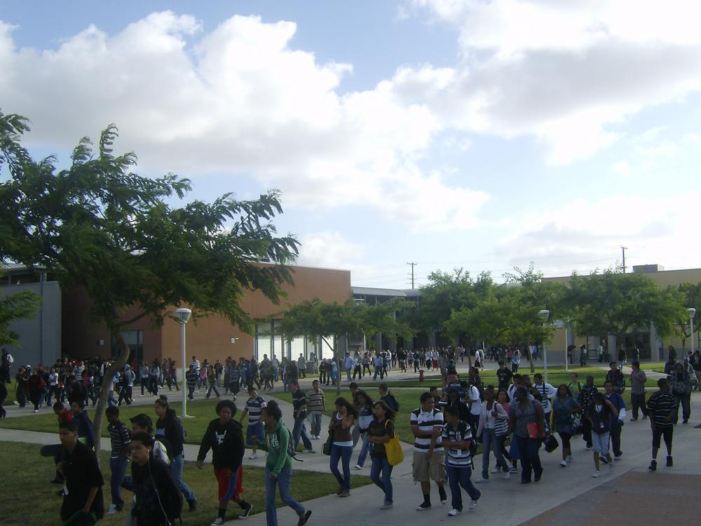 Students walking through school