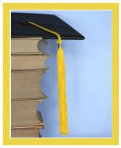 Graduation cap on books