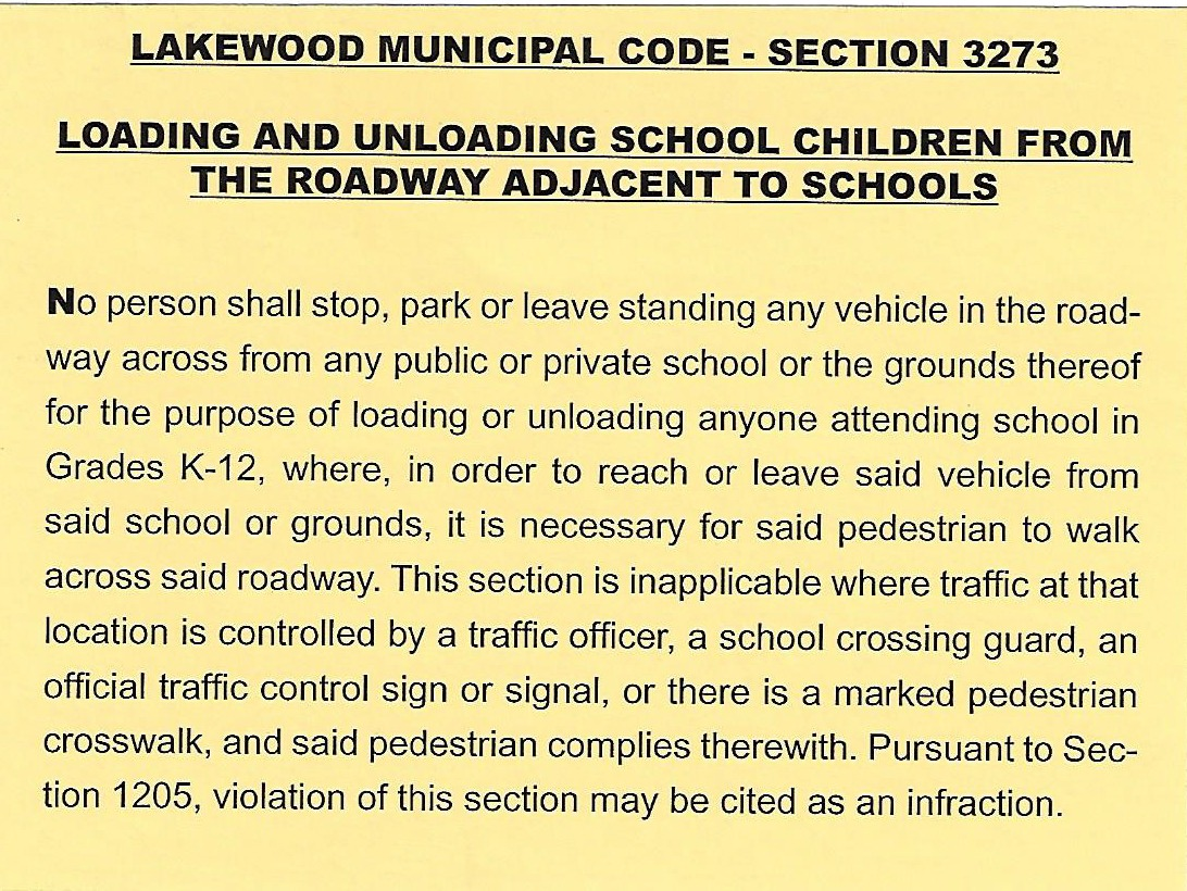 Lakewood Municipal Code - Section 3273