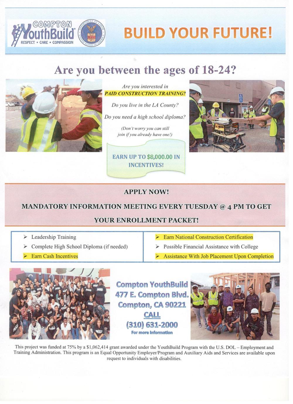 Compton Youth Build Flyer