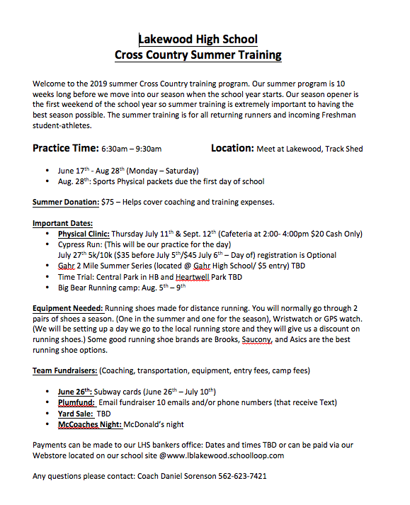 Cross Country Summer Training