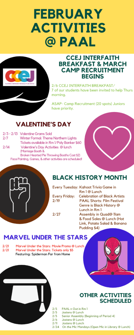 February Activities at PAAL flyer