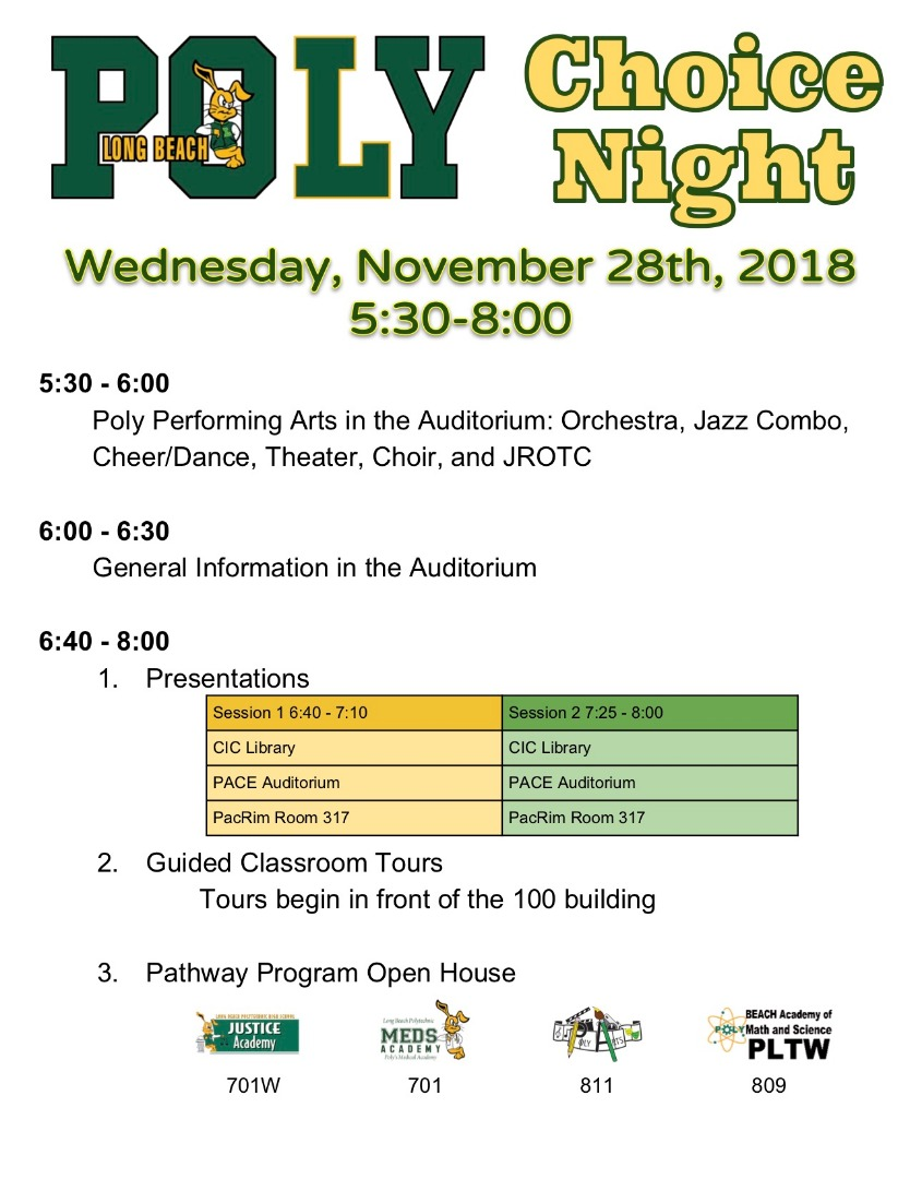 poly choice night schedule