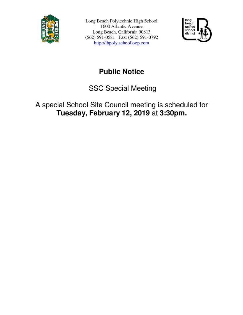 Notic of Special Meeting