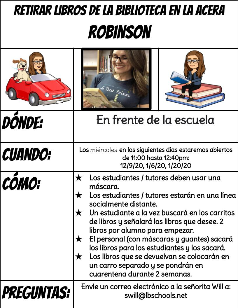 Curbside Library Dates - Spanish