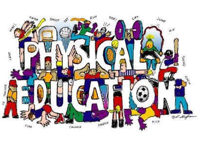 physical education banner with students playing sports