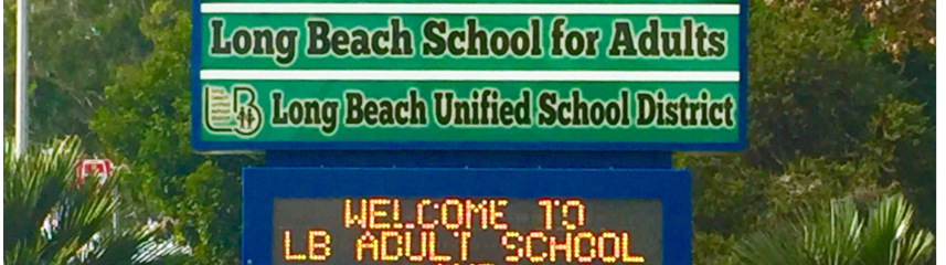long beach school for adults marquee sign