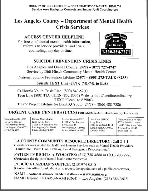 Crises Hotline Flyer