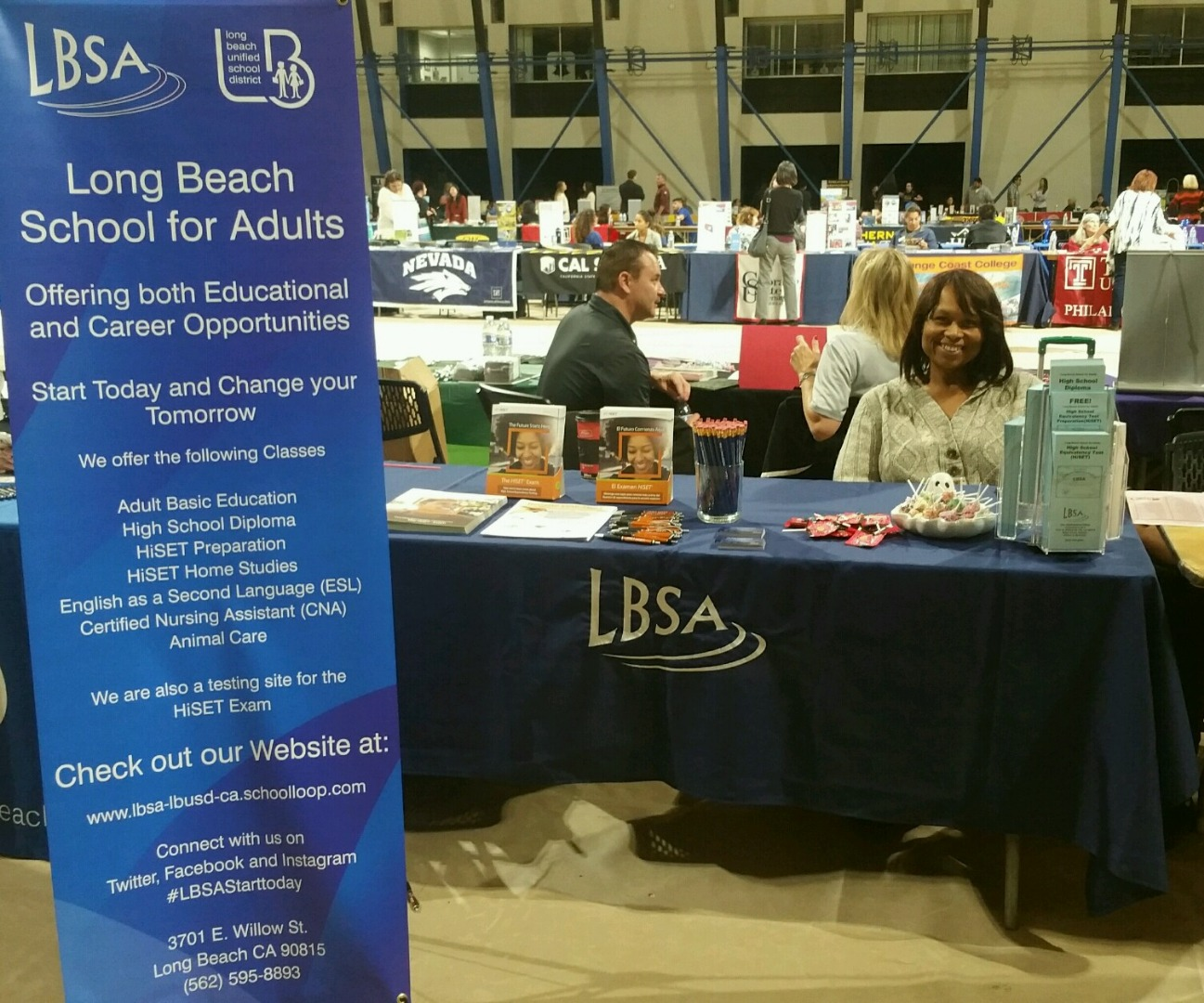 long beach school for adults table at event