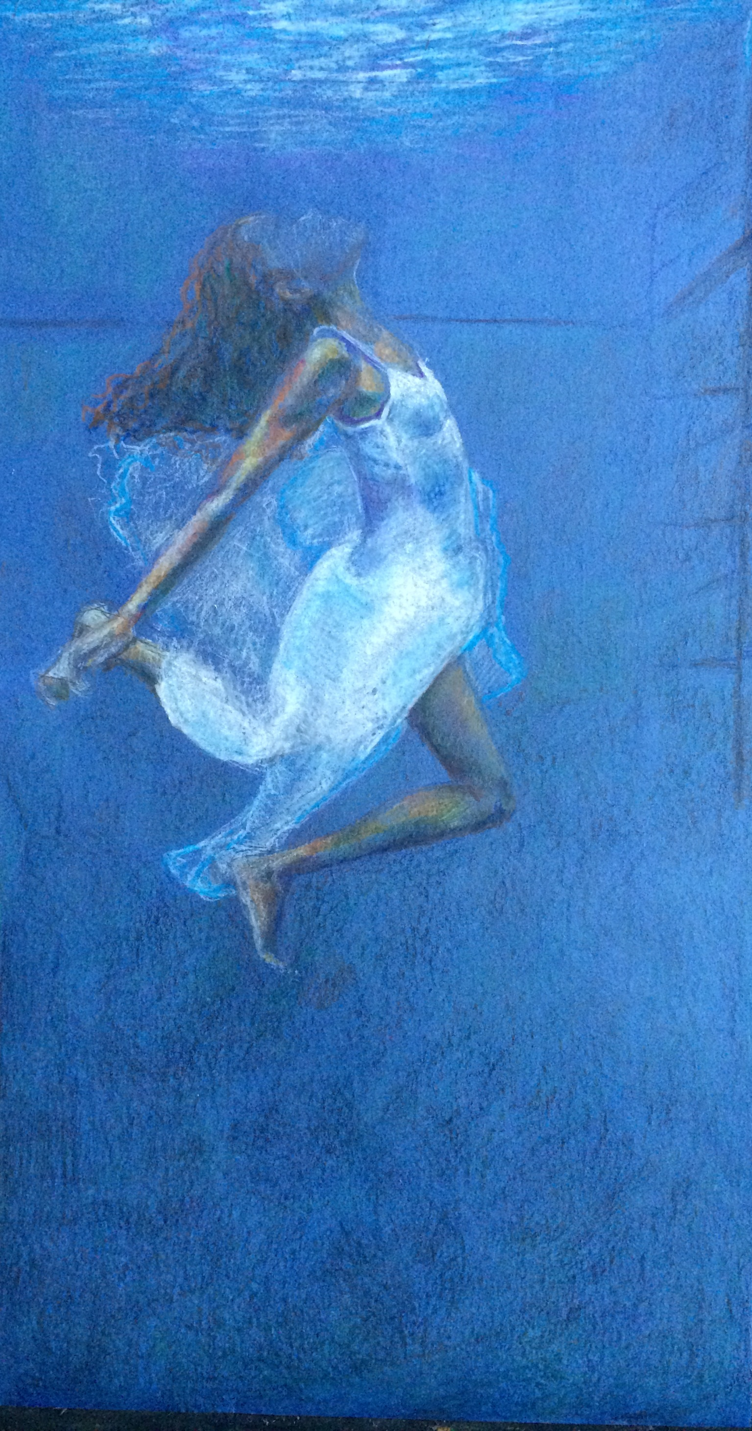 painting of a girl underwater