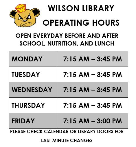 wilson library operating hours