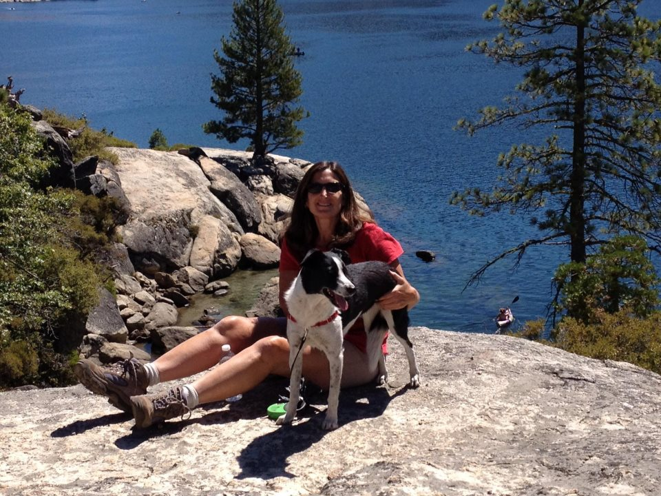 Here I am with Scout, my border collie, at our favorite hiking spot, Pinecrest  Lake.