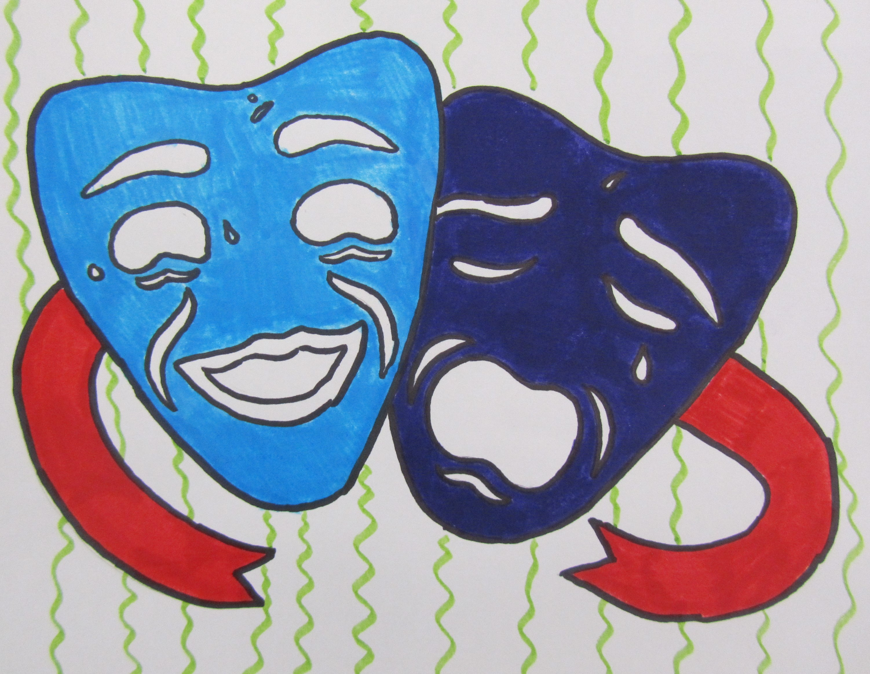 Student color drawing of comedy and tragedy drama masks