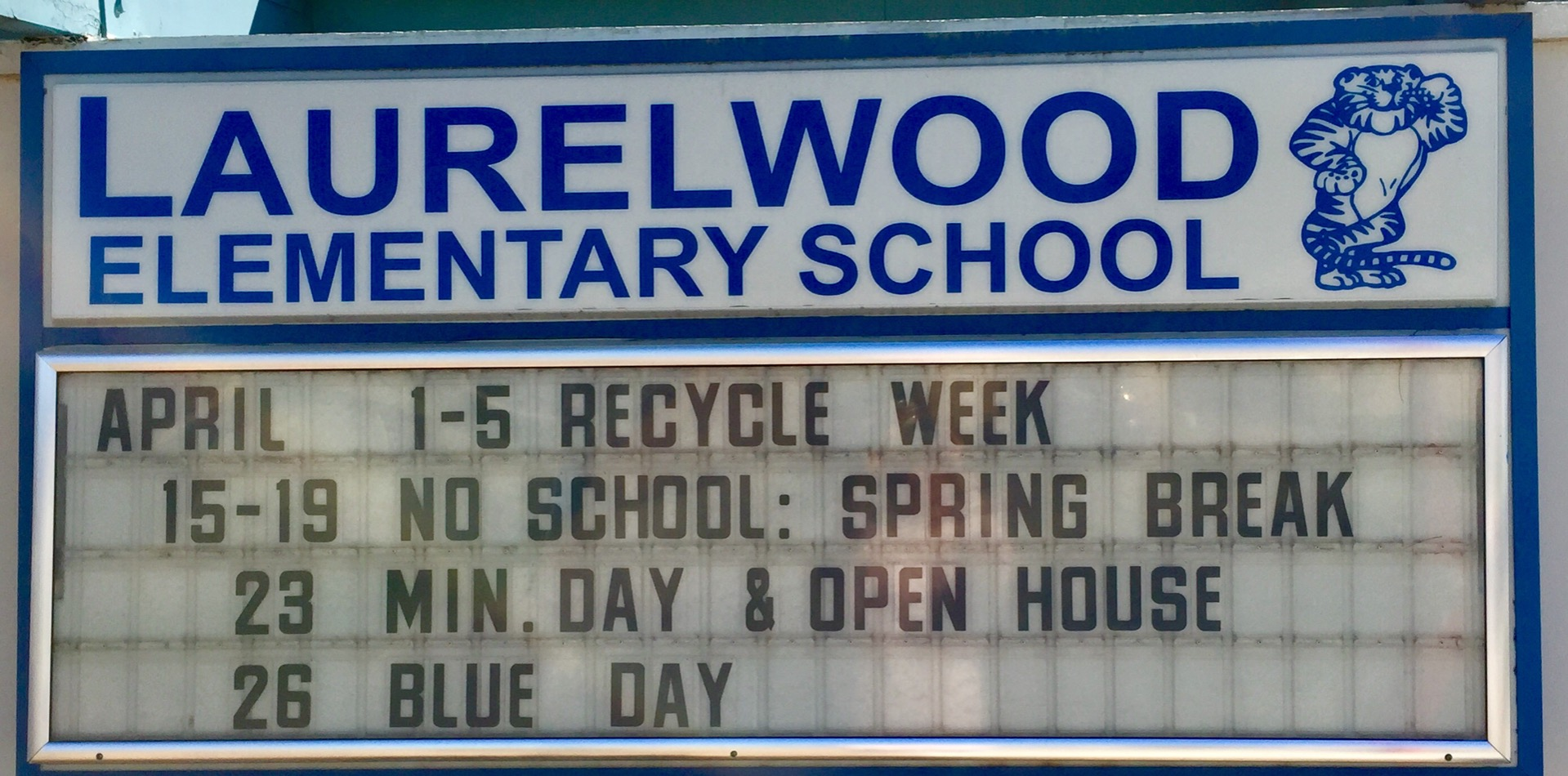 school's marquee for April