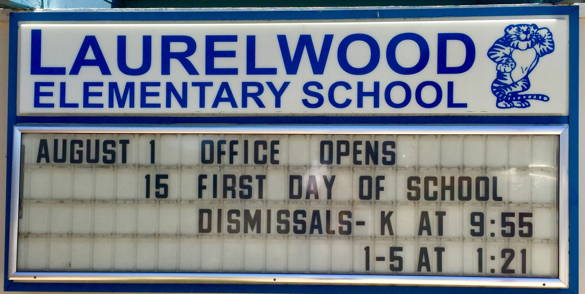 school's marquee for May