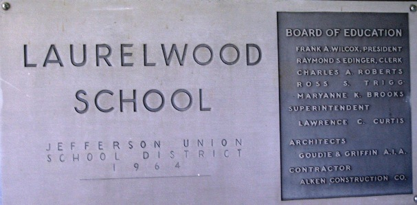 Laurelwood school name plaque that is posted outside of main office