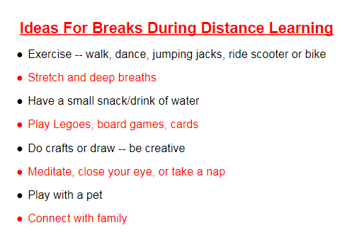 Breaks during distance learning