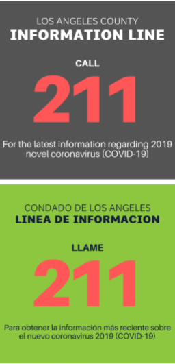 Dial 2-1-1 for LA County COVID Information
