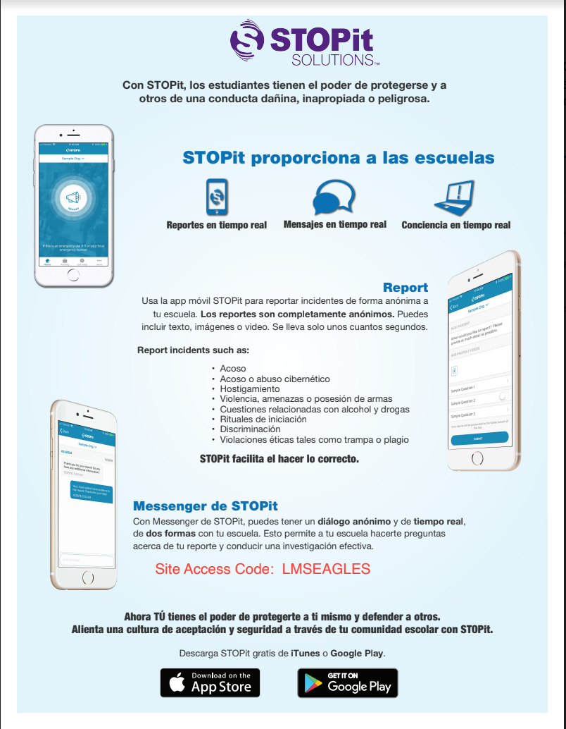 STOPit access code poster Spanish
