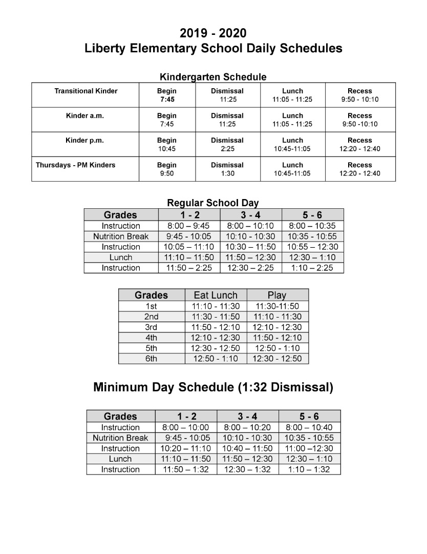 Liberty School Bell Schedule
