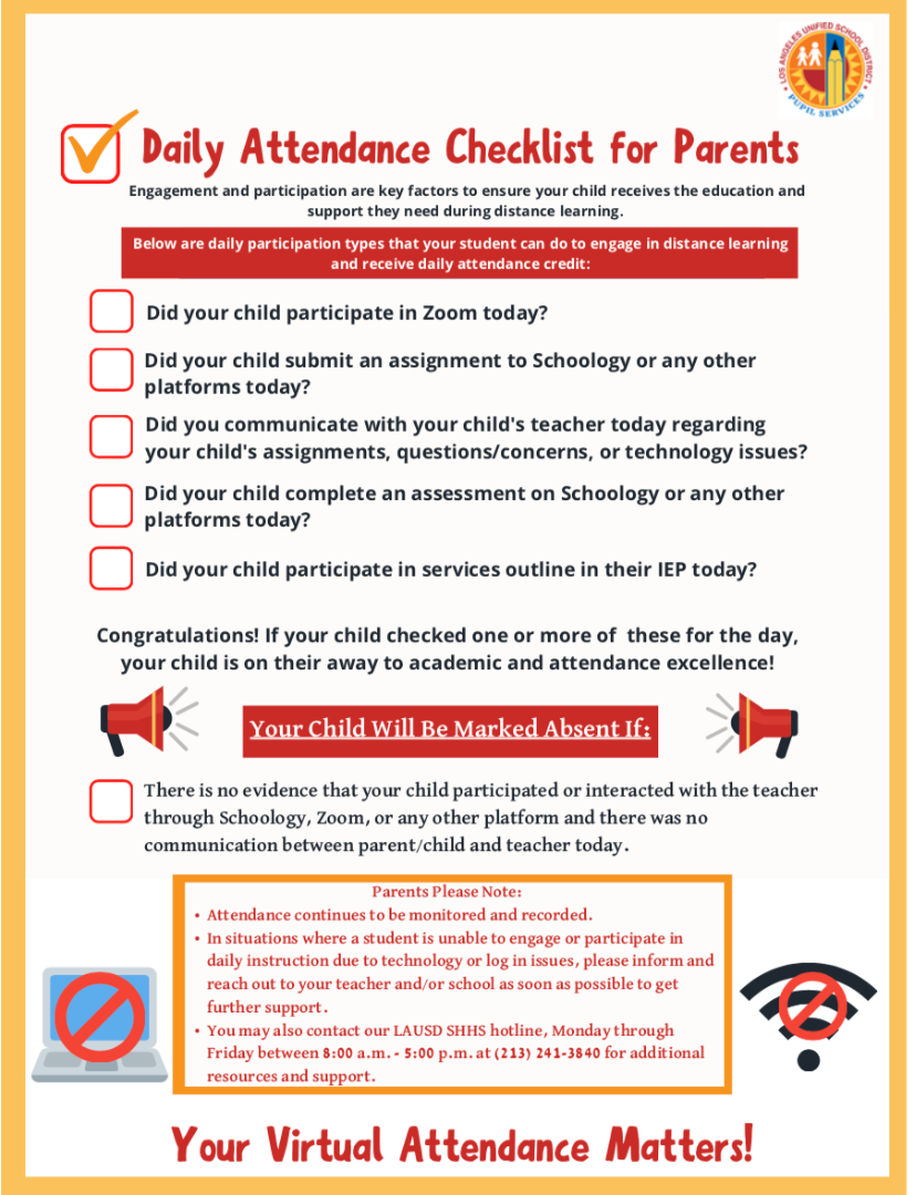 Distance Learning Attendance Checklist