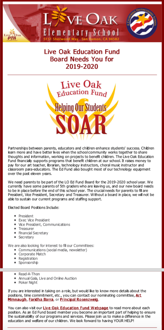 Ed Fund Board Nomination