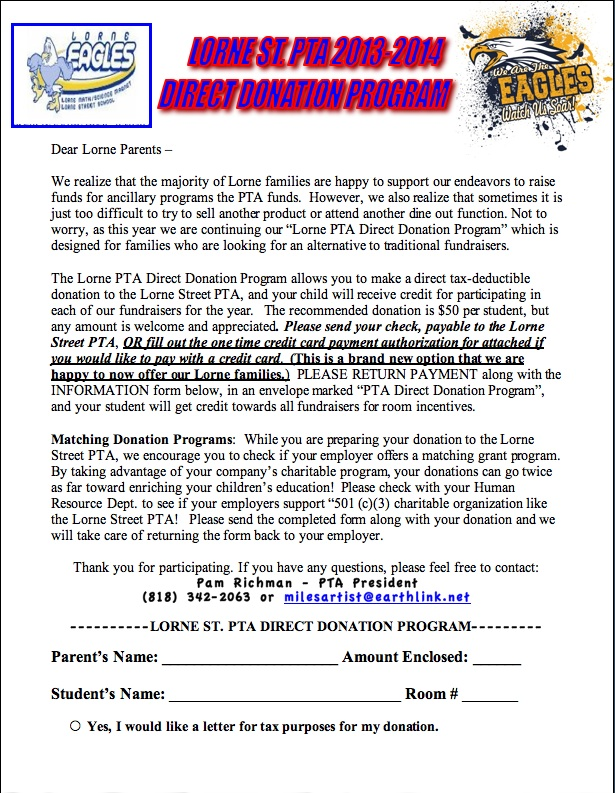 You Can Directly Donate to Lorne PTA