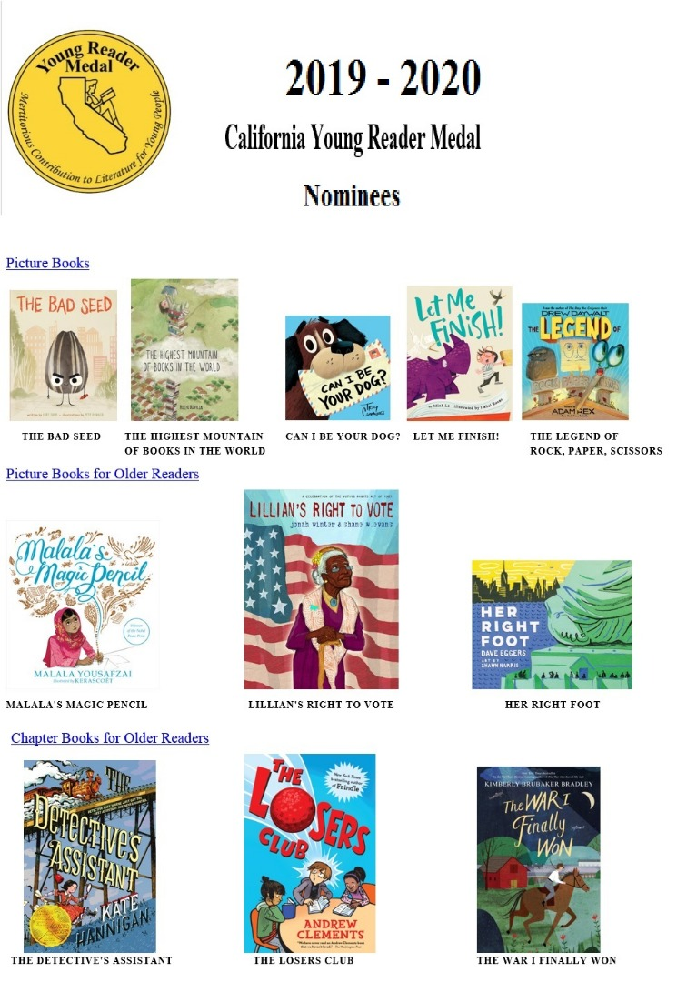 2019-2020 California Young Reader Medal Nominees