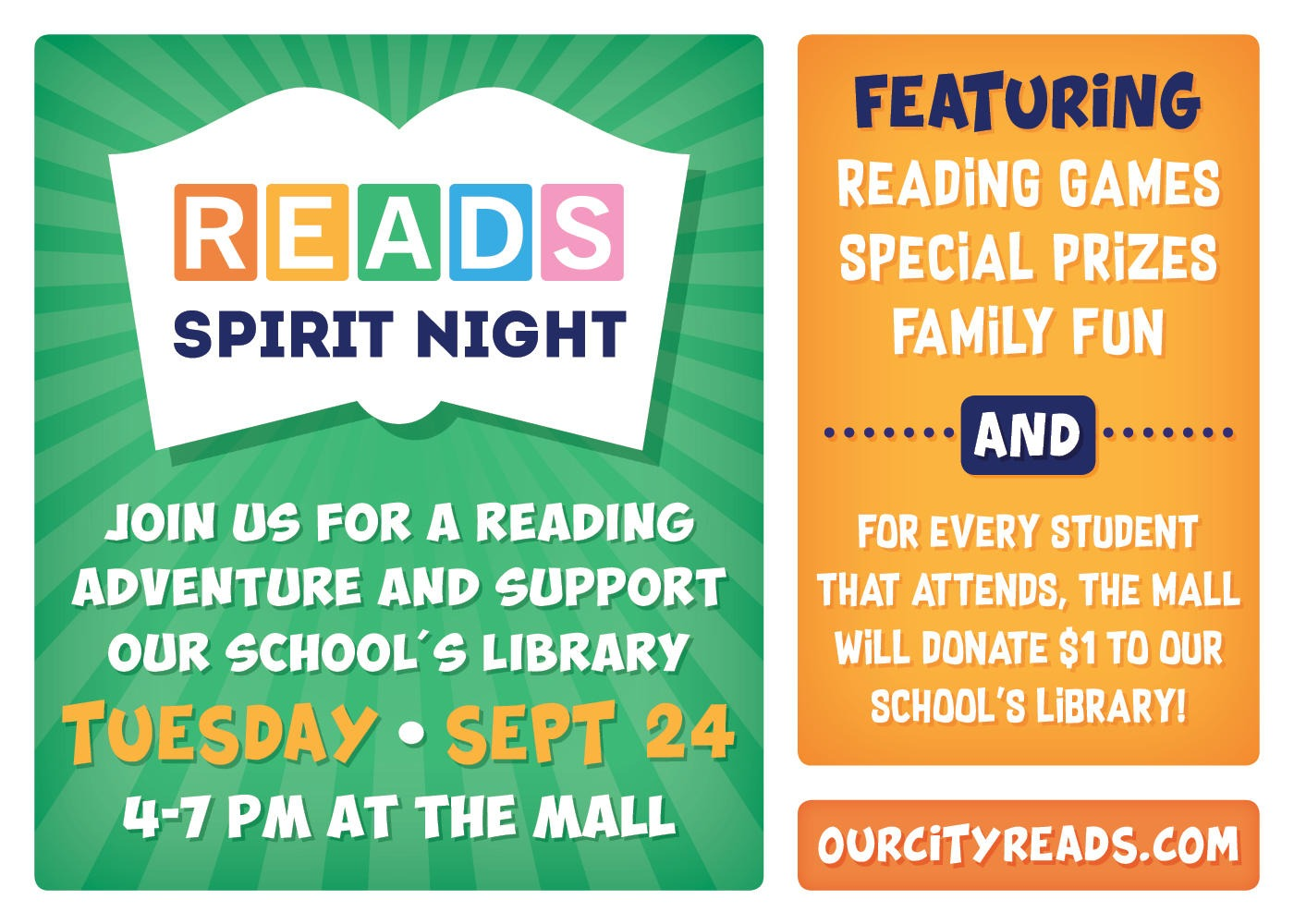READS spirit night flyer