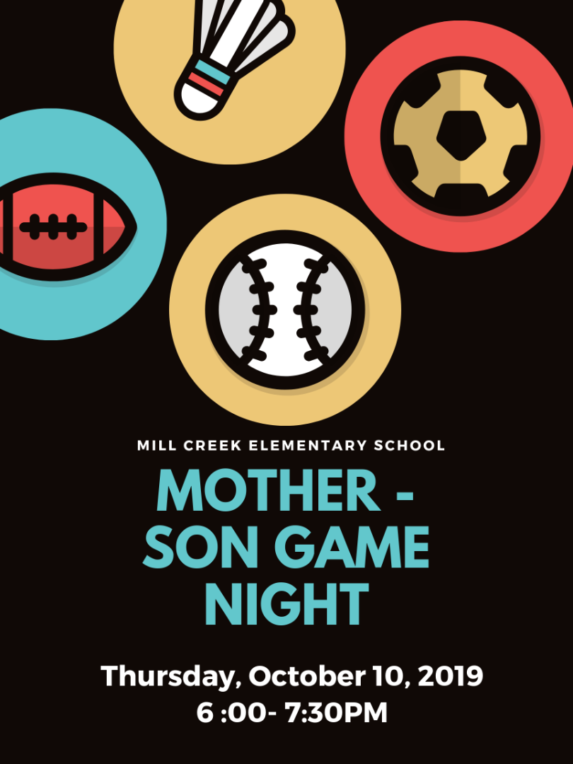 Mother Son Game Night Flyer