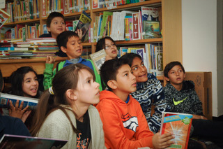 Students enjoying a lesson in their Library class.