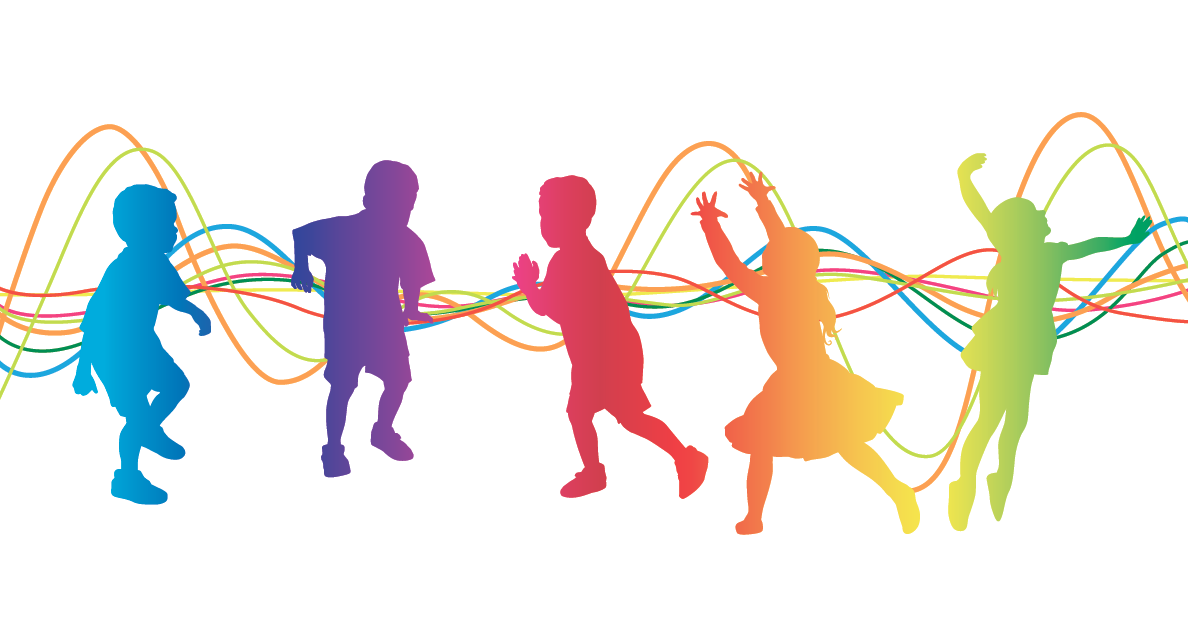 Colorful picture of kids dancing