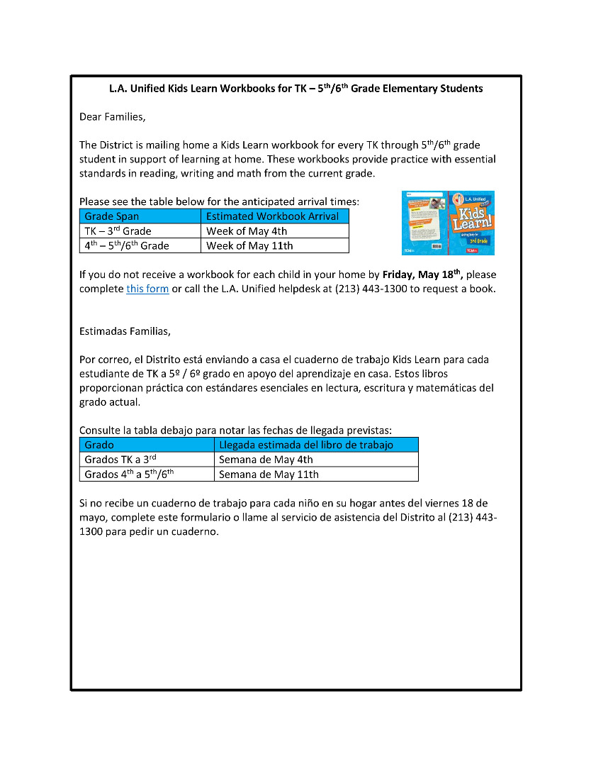 Kids Learn Workbook Announcement for Parents