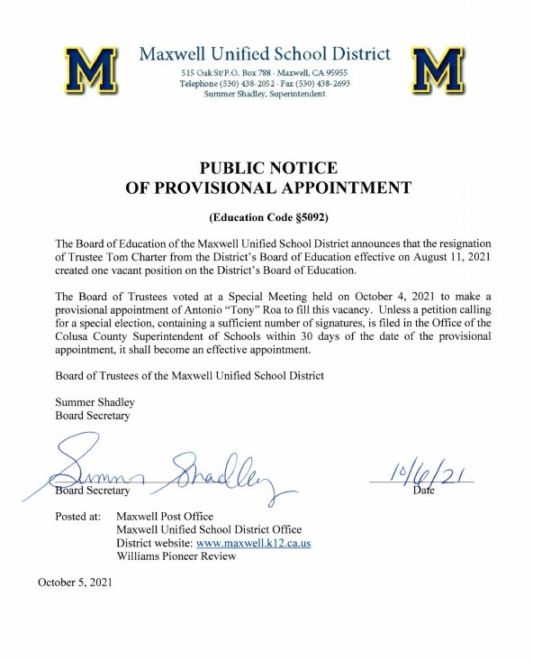 notice of provisional appointment of Tony Roa