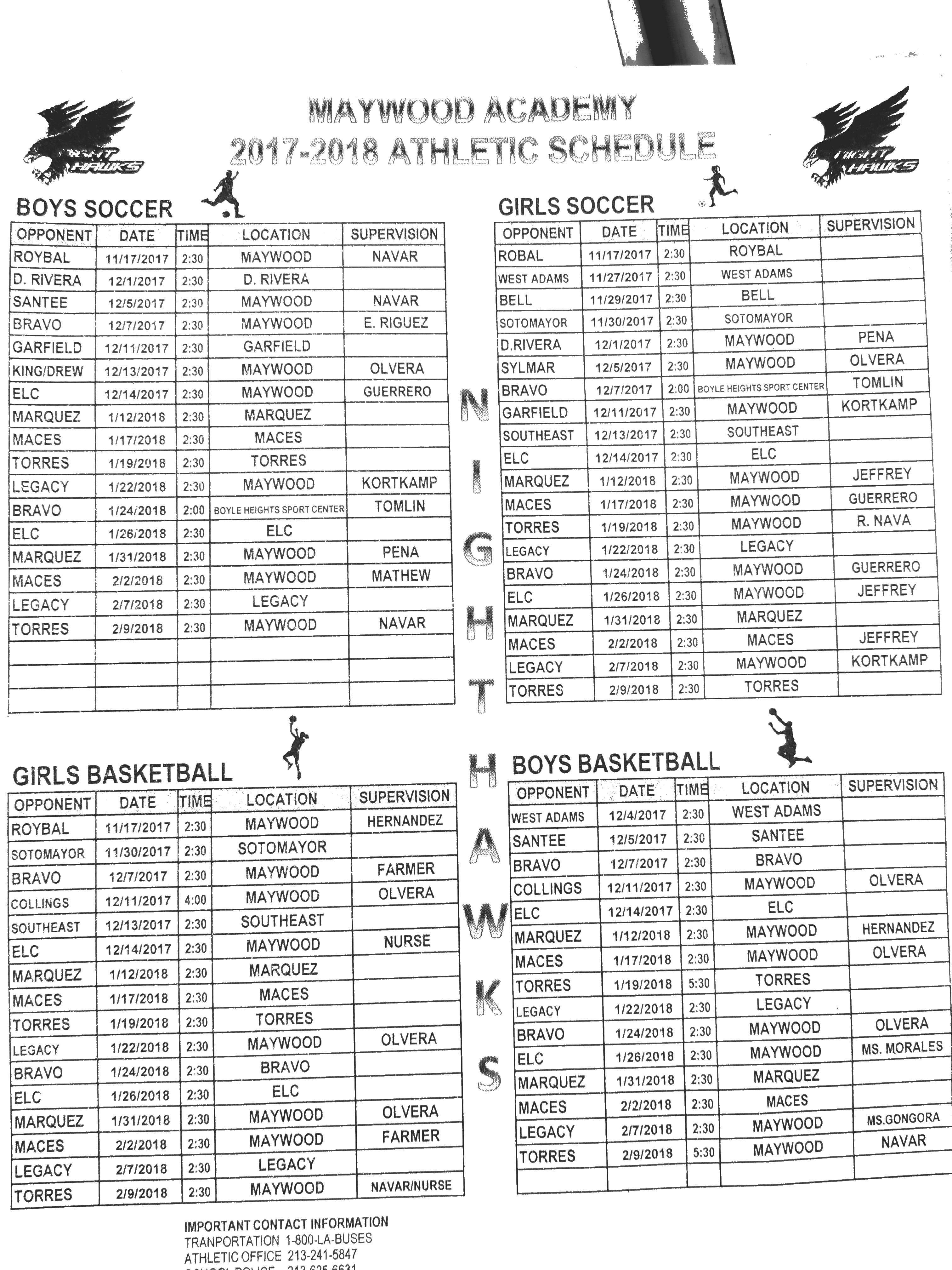 Athletic Schedule