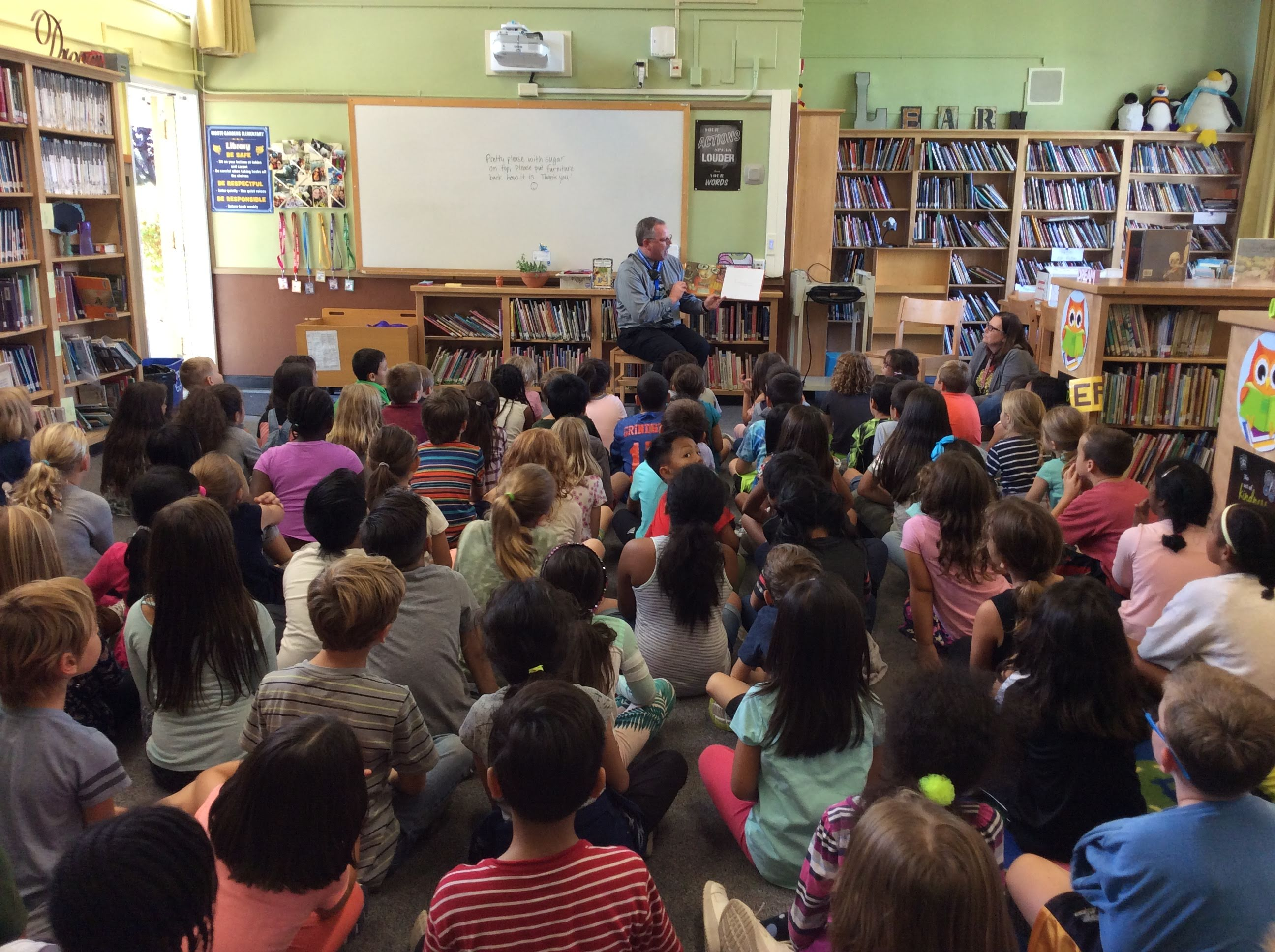 Mr. Fey Reading to the 2nd Grade During Character Education